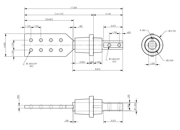 Epoxy Transformer Bushing Drawing - 90-312